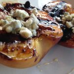 Grilled BBQ Peaches with Blue Cheese